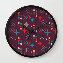 Atomic pattern purple mid century modern #homedecor Wall Clock