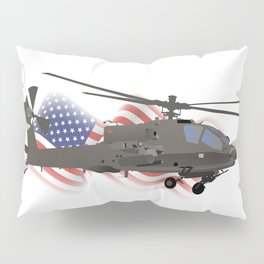 AH-64 Apache Helicopter with American Flag Pillow Sham