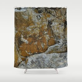 Cornish Headland Cracked Rock Texture with Lichen Shower Curtain