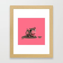 Rosa the Pig loves the Mud Framed Art Print
