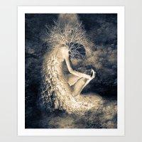 introvert Art Prints featuring introvert. by Viviana Gonzalez
