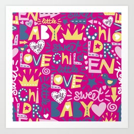 Baby pattern with words, crowns and hearts Art Print