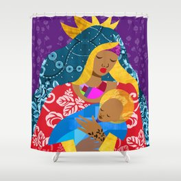 Virgin Mary and Child Shower Curtain