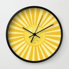 KAWAII SKY - happy smiling sun - hello sunshine quote Wall Clock