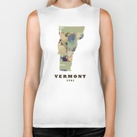vermont Biker Tanks featuring Vermont state map by bri.b