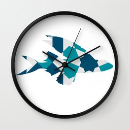 LONG FIN FISH SILHOUETTE WITH PATTERN Wall Clock