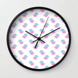 Wild polka dot 3- blue and pink Wall Clock