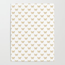 Metallic Gold Foil Butterflies on White Poster