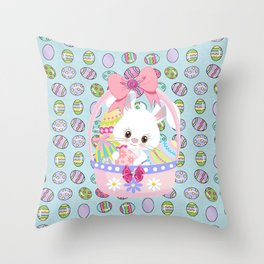 Easter Bunny Easter Basket Throw Pillow