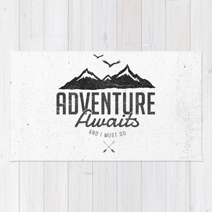 ADVENTURE AWAITS Rug