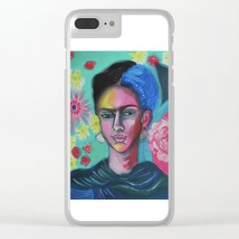Floral Frida Clear iPhone Case