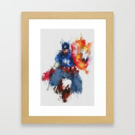 Captain of America Abstract Painting Framed Art Print