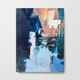 On the Dock: a pretty abstract design in blues and pinks by Alyssa Hamilton Art Metal Print