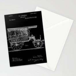 Vintage Ambulance Patent - Black Stationery Cards