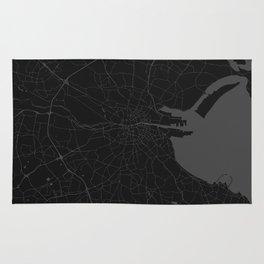 Black on Grey Dublin Street Map Rug