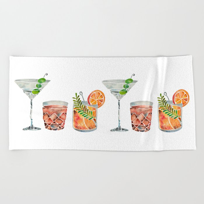 Classic Cocktails  – 1960s Watercolor Lineup Beach Towel