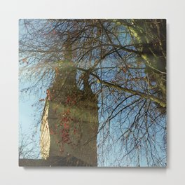 Old Tower And Leafless Branches Metal Print
