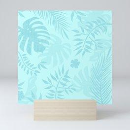 Tropical garden - light aqua blue Mini Art Print