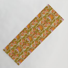 Orange, Pink Flowers and Green Leaves 1960s Retro Vintage Pattern Yoga Mat