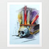Skull Library Art Print