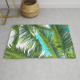 Life Under Palm Trees, Colorful Bohemian Beachy, Tropical Travel Nature Graphic Design Rug