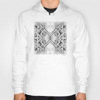 gray pattern Hoodies featuring Emerge - Gray/Black Pattern by MB4 Studio / Melissa Breitenfeldt