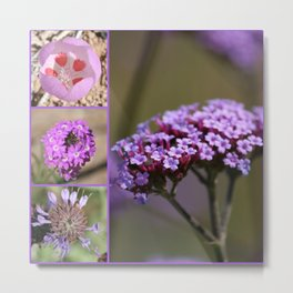 Purple Violet Pink Flowers Collage Metal Print