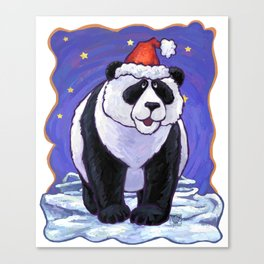 Panda Bear Christmas Canvas Print