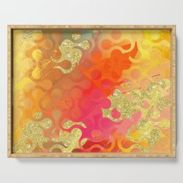 Decorative Gold Sparkling Bright Abstract Design Serving Tray
