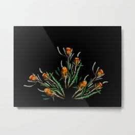 Orange Wildflowers in the Dark Metal Print