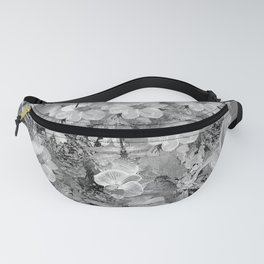 PARROTS MAGNOLIAS ROSES AND HYDRANGEAS TOILE PATTERN IN GRAY AND WHITE Fanny Pack