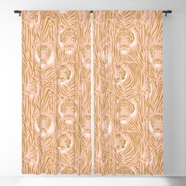 Tigers in Blush + Gold Blackout Curtain