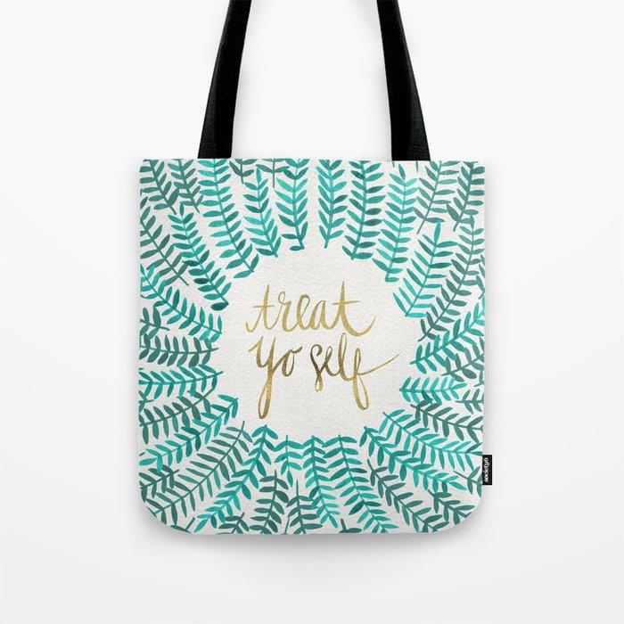 Treat Yo Self – Gold & Turquoise Tote Bag