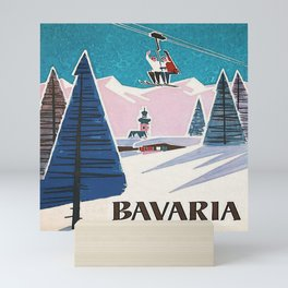 Bavaria, Germany Vintage Ski Travel Poster Mini Art Print