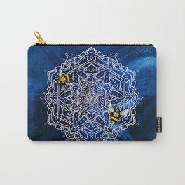 Bee Dance Mandala A - Textured Indigo Carry-All Pouch