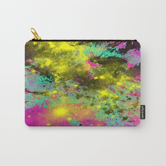 Stargazer - Abstract cyan, black, purple and yellow oil painting Carry-All Pouch