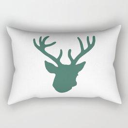 Deer Head: Green Rectangular Pillow
