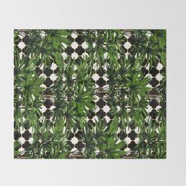 Palms on Quatrefoil - Black Gold Throw Blanket