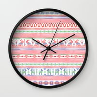 mexican Wall Clocks featuring Mexican Blanket by Sian Keegan