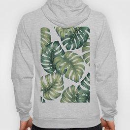 Monstera botanical leaves illustration pattern on white Hoody