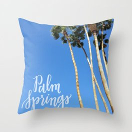 Palm Springs Palm Trees Calligraphy Throw Pillow