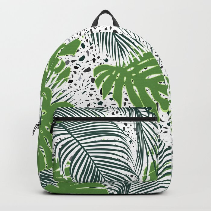 Green tropical leaves on terrazzo pattern Backpack