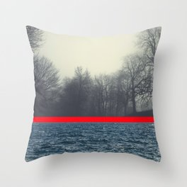 unrelated - seascape and forest conversation Throw Pillow