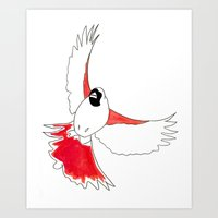 Red bird in flight Art Print
