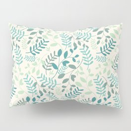 Leaves Teal Green Pattern Pillow Sham