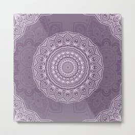 White Lace on Lavender Metal Print