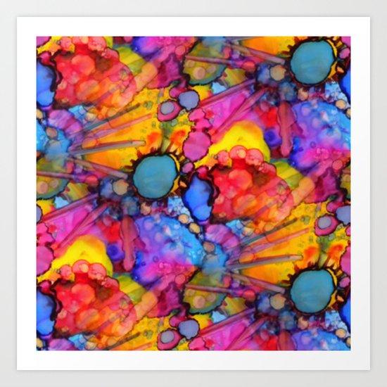 Rainbow Splats Alcohol Inks Art Print