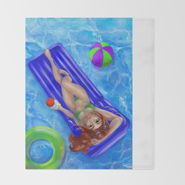 Redhead girl relaxing at the swimming pool Throw Blanket