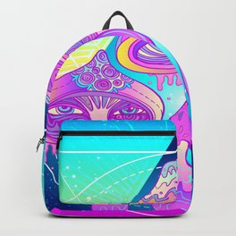 Magic Mushrooms over Sacred Geometry Backpack