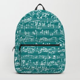 Hand Written Sheet Music // Teal Backpack